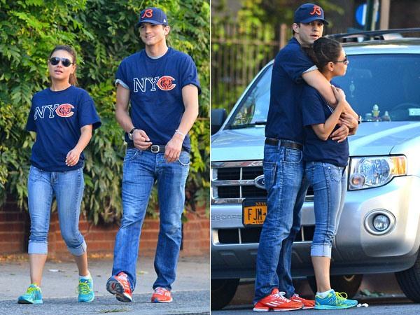 Эштон и Мила гуляют в Нью-Йорке (рис. 1)