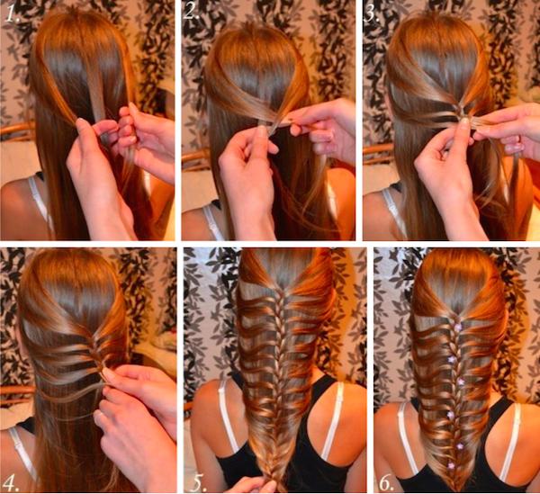 Красивое и элегантное плетение с косой для волос (рис. 5)