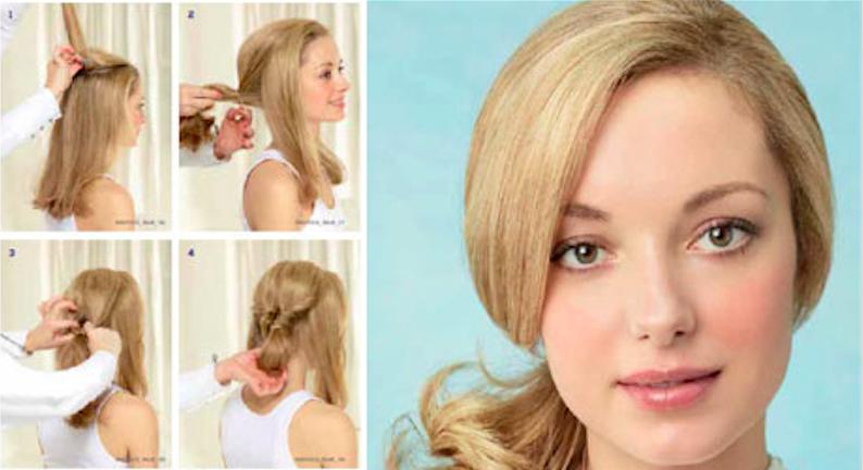 Романтичная прическа для средних и длинных волос (рис. 17)